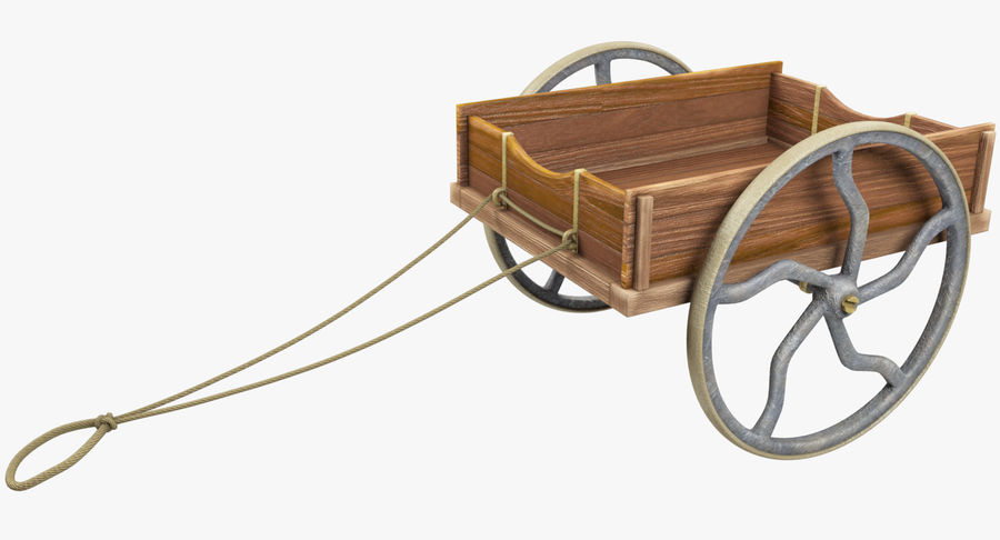 Old Wooden Cart V1 royalty-free 3d model - Preview no. 2