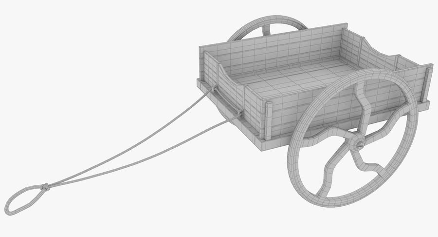Old Wooden Cart V1 royalty-free 3d model - Preview no. 12