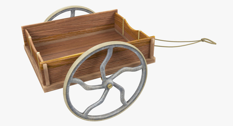 Old Wooden Cart V1 royalty-free 3d model - Preview no. 7