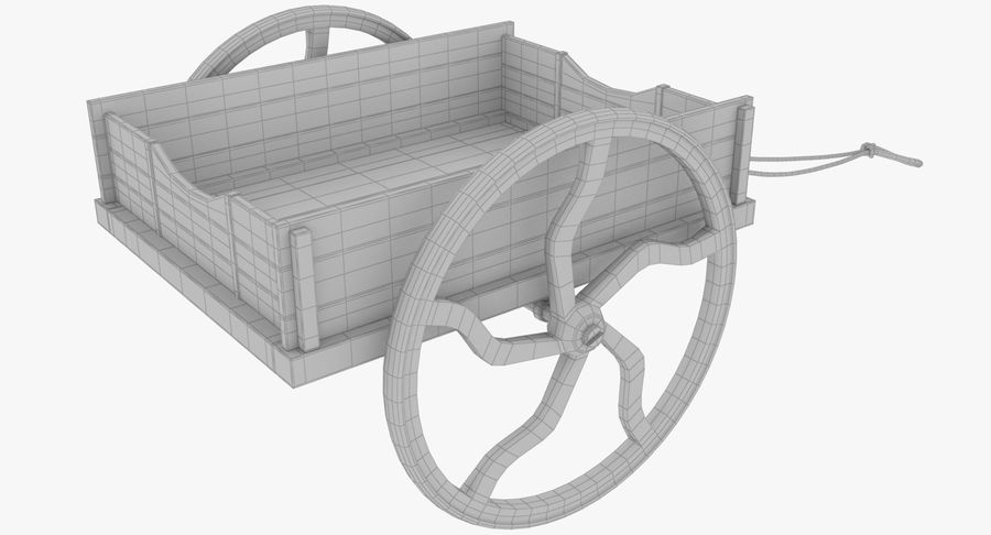 Old Wooden Cart V1 royalty-free 3d model - Preview no. 13