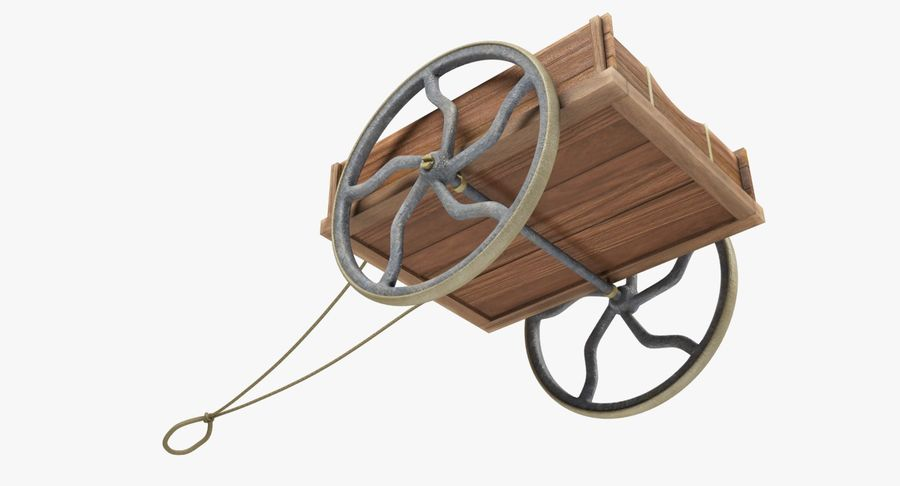 Old Wooden Cart V1 royalty-free 3d model - Preview no. 10