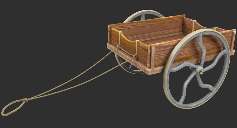 Old Wooden Cart V1 royalty-free 3d model - Preview no. 3