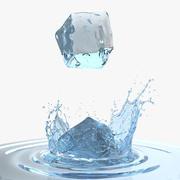 Cubo De Hielo Salpicaduras De Agua modelo 3d