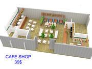 Kafé - Kaféinredning 3d model