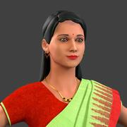 Indian lady in saree 3d model