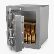 Steel Safe with Gold Bars 3d model