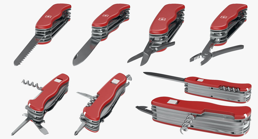 Swiss Army Classic Pen Knife royalty-free 3d model - Preview no. 9