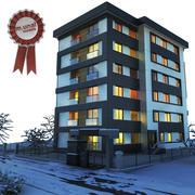 Winter modernes Gebäude 3d model