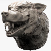 Wolf Head angry 3d model