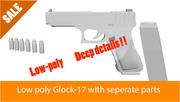 Glock 17 och 9mm Bullets låg poly 3d model