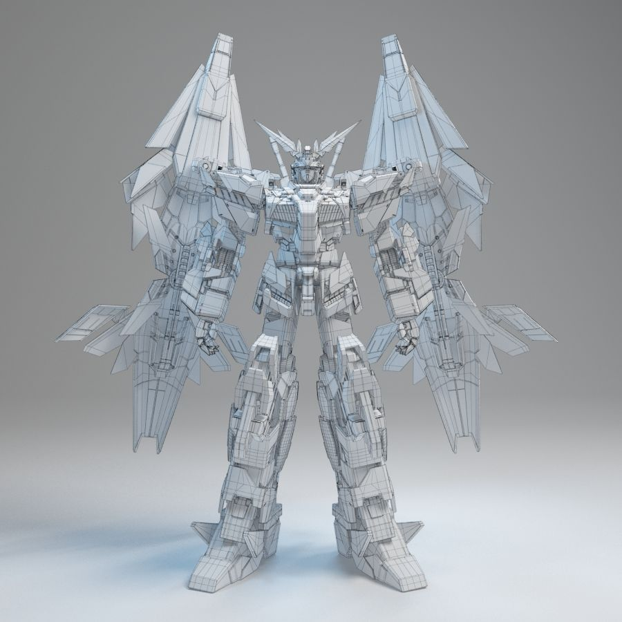Gundam Unicorn Phenex royalty-free 3d model - Preview no. 9