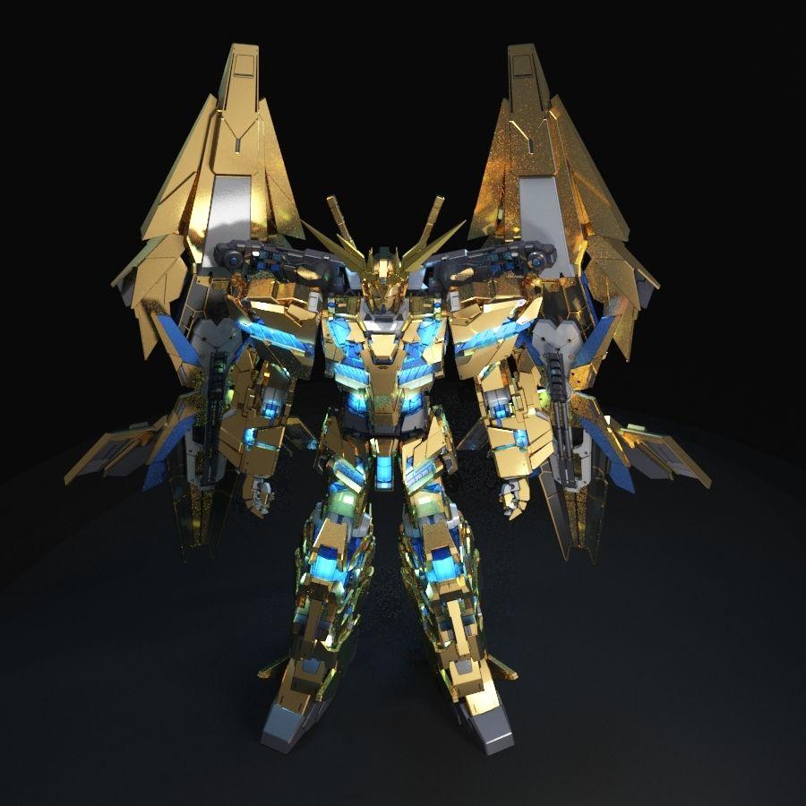 Gundam Unicorn Phenex royalty-free 3d model - Preview no. 7