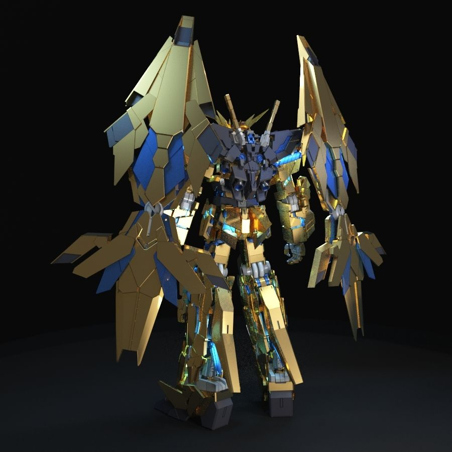 Gundam Unicorn Phenex royalty-free 3d model - Preview no. 3