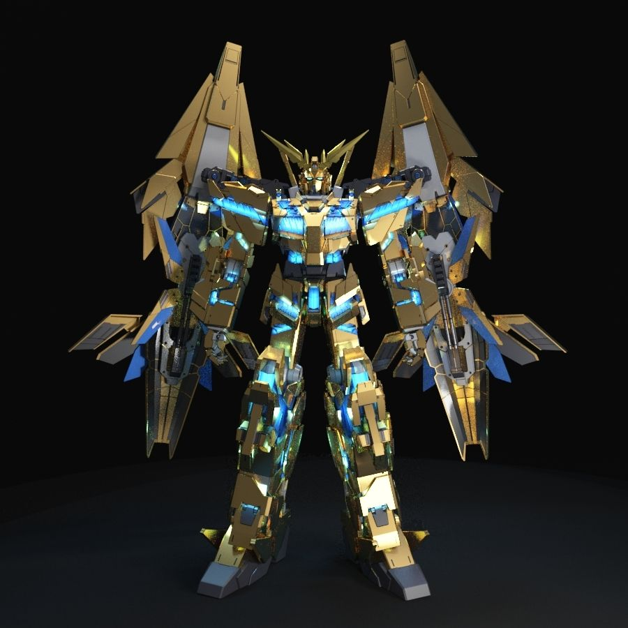 Gundam Unicorn Phenex royalty-free 3d model - Preview no. 4