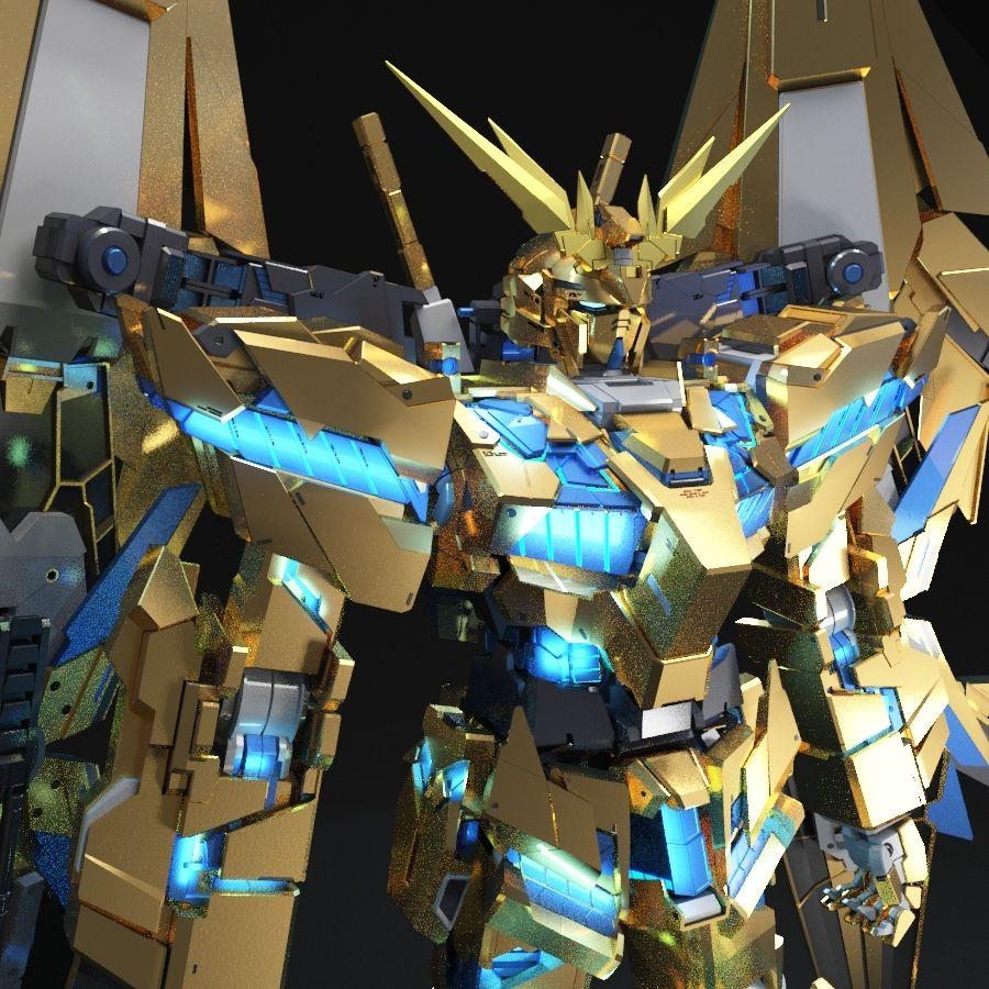 Gundam Unicorn Phenex royalty-free 3d model - Preview no. 1