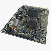 Placa de circuito azul modelo 3d