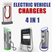 Coleção de carregadores de veículos elétricos 3d model