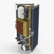 축소 된 태양 전지판이있는 위성 3d model