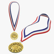 Coleção de medalhas de ouro olímpicas 3d model