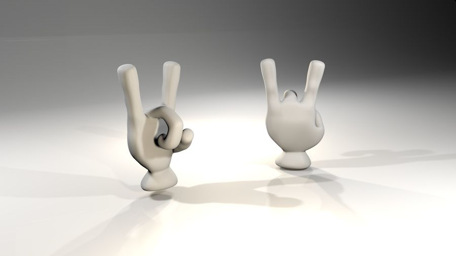Rigged Cartoon Hand 1 royalty-free 3d model - Preview no. 4