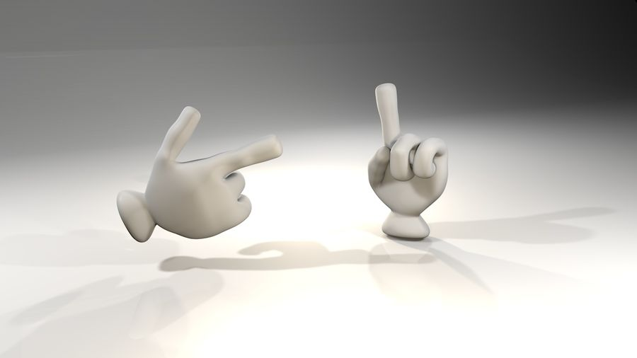 Rigged Cartoon Hand 1 royalty-free 3d model - Preview no. 1