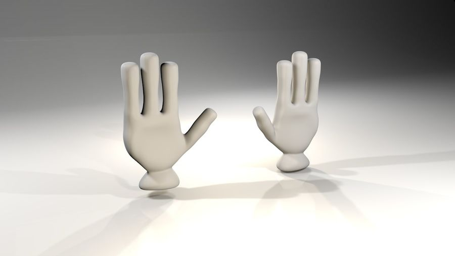 Rigged Cartoon Hand 1 royalty-free 3d model - Preview no. 2