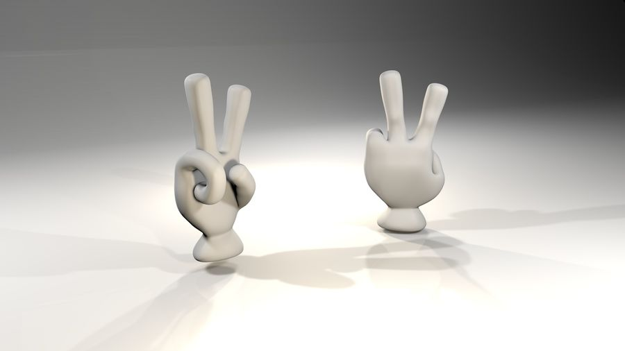 Rigged Cartoon Hand 1 royalty-free 3d model - Preview no. 5