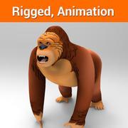 Gorila dos desenhos animados manipulada e animada 3d model