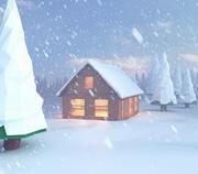 Laag poly scène sneeuwhuis op het meer 3d model
