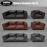Low-Poly Modern Furniture Set 01 3d model