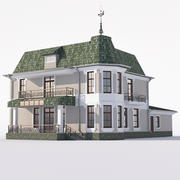 Maison classique avec baies vitrées et garage. 3d model
