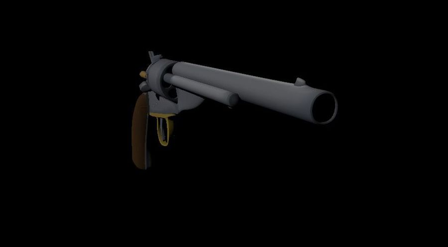 Toon Revolver Colt royalty-free 3d model - Preview no. 2