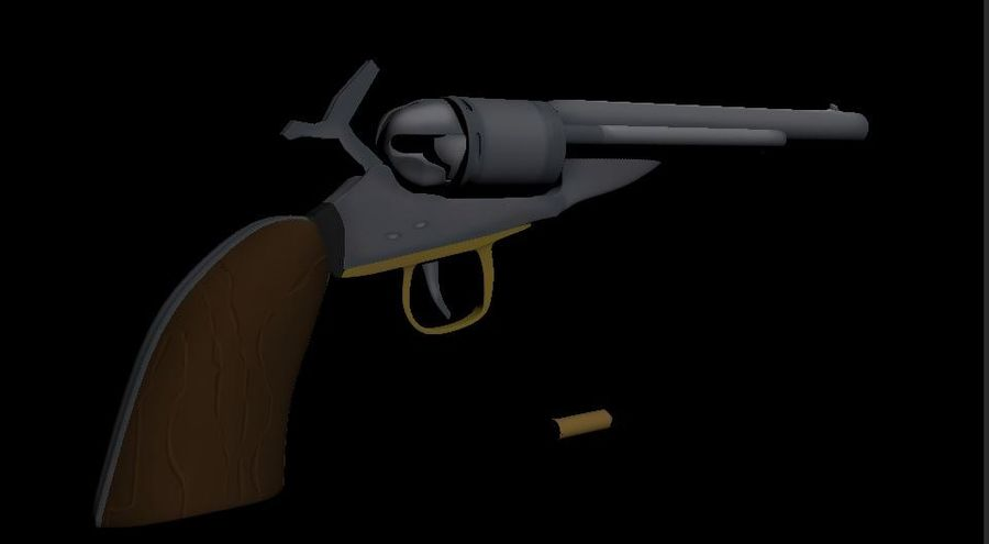 Toon Revolver Colt royalty-free 3d model - Preview no. 5