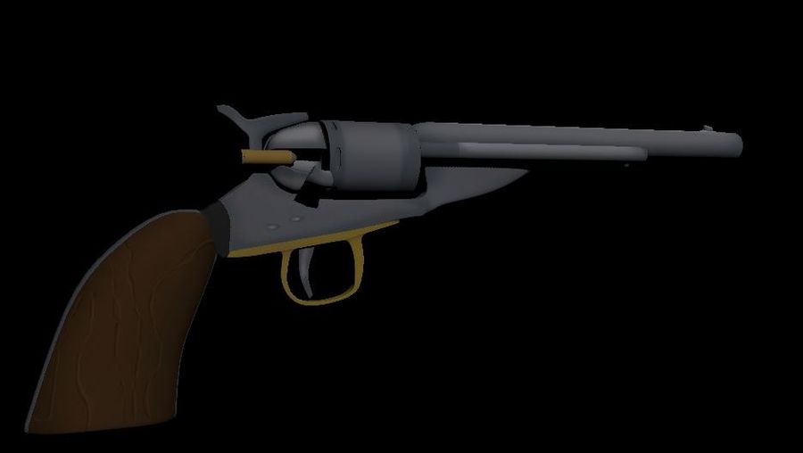 Toon Revolver Colt royalty-free 3d model - Preview no. 1