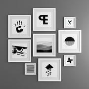 9 фотографий в рамке / графика в черно-белом 3d model