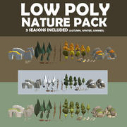 Multi season low poly nature 3d model