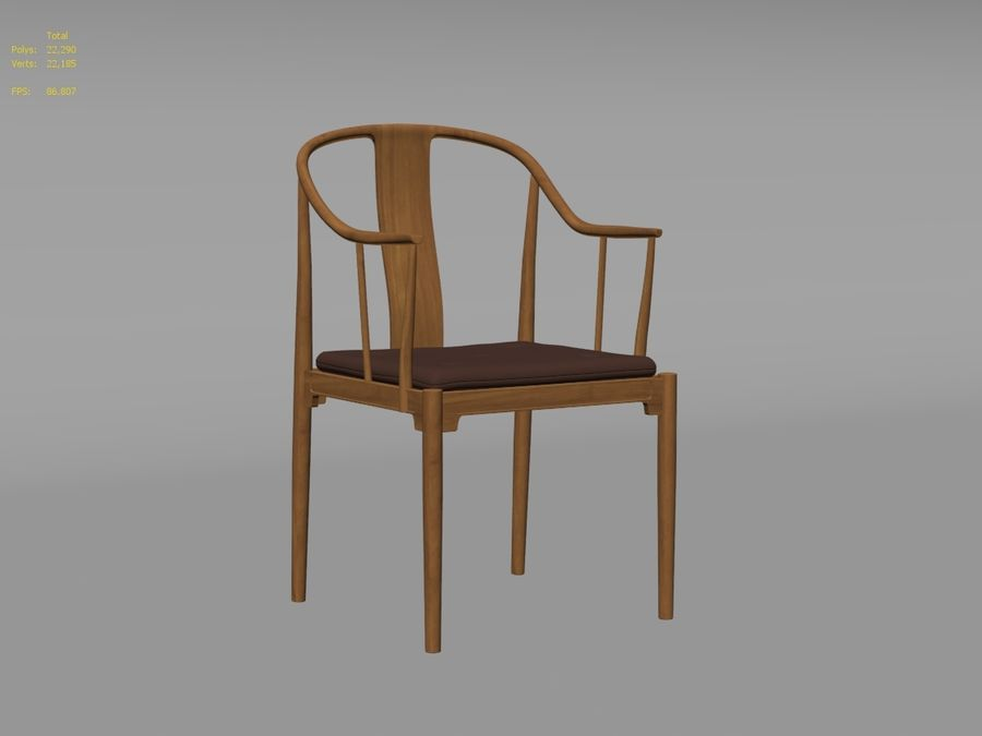 cadeira chinesa de hans wegner royalty-free 3d model - Preview no. 7
