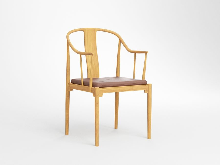 cadeira chinesa de hans wegner royalty-free 3d model - Preview no. 1