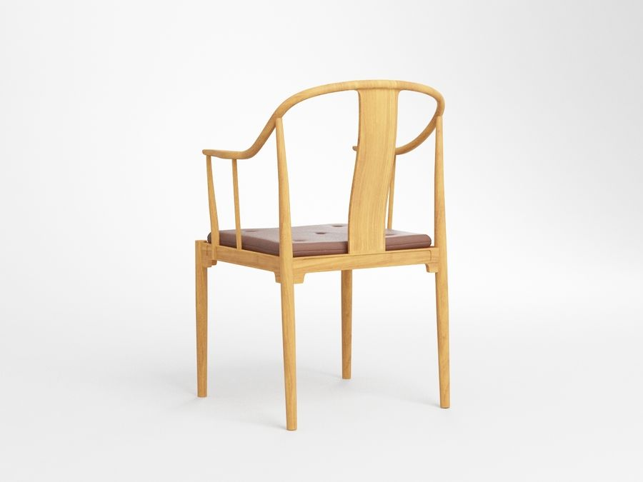 cadeira chinesa de hans wegner royalty-free 3d model - Preview no. 5