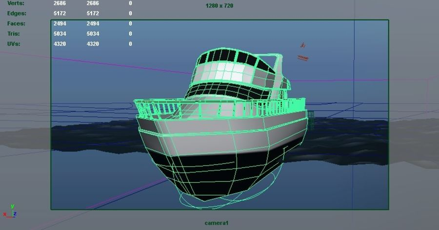 Animated Boat with Ocean royalty-free 3d model - Preview no. 8