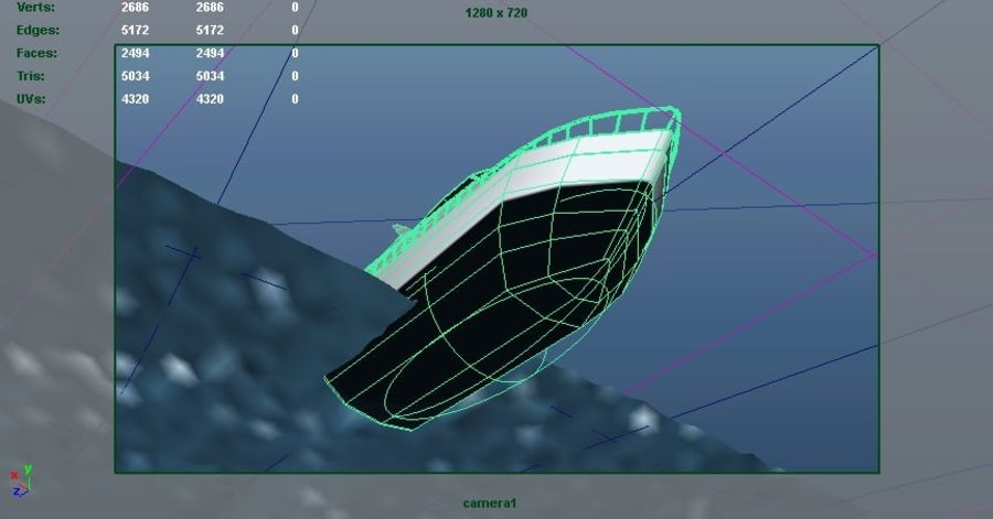 Animated Boat with Ocean royalty-free 3d model - Preview no. 11