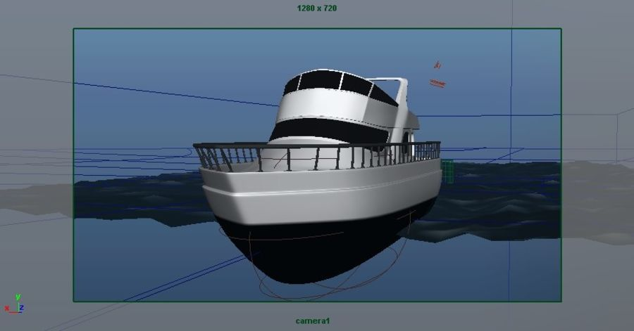 Animated Boat with Ocean royalty-free 3d model - Preview no. 18