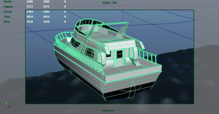 Animated Boat with Ocean royalty-free 3d model - Preview no. 5
