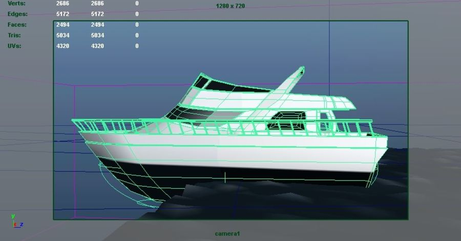 Animated Boat with Ocean royalty-free 3d model - Preview no. 6