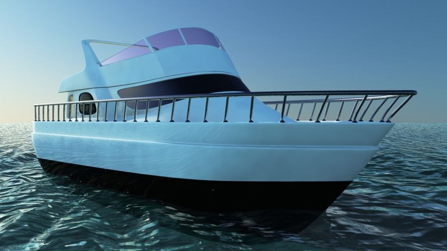 Animated Boat with Ocean royalty-free 3d model - Preview no. 1