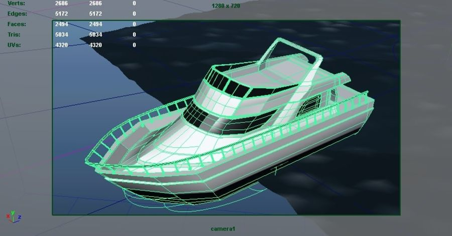 Animated Boat with Ocean royalty-free 3d model - Preview no. 7