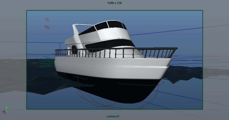 Animated Boat with Ocean royalty-free 3d model - Preview no. 12