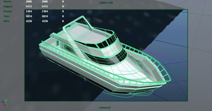 Animated Boat with Ocean royalty-free 3d model - Preview no. 3
