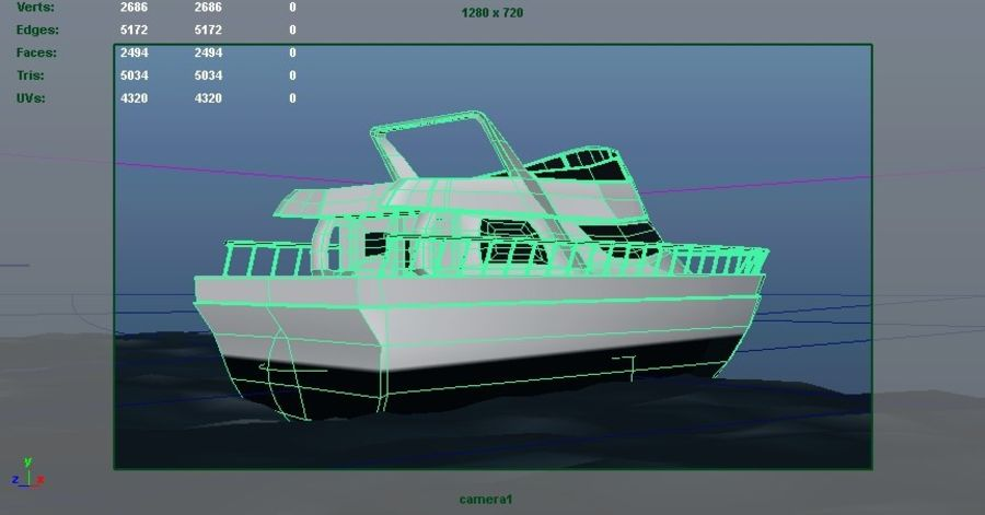 Animated Boat with Ocean royalty-free 3d model - Preview no. 4