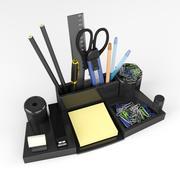 Artigos de papelaria em cima da mesa. 3d model